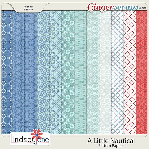A Little Nautical Pattern Papers by Lindsay Jane