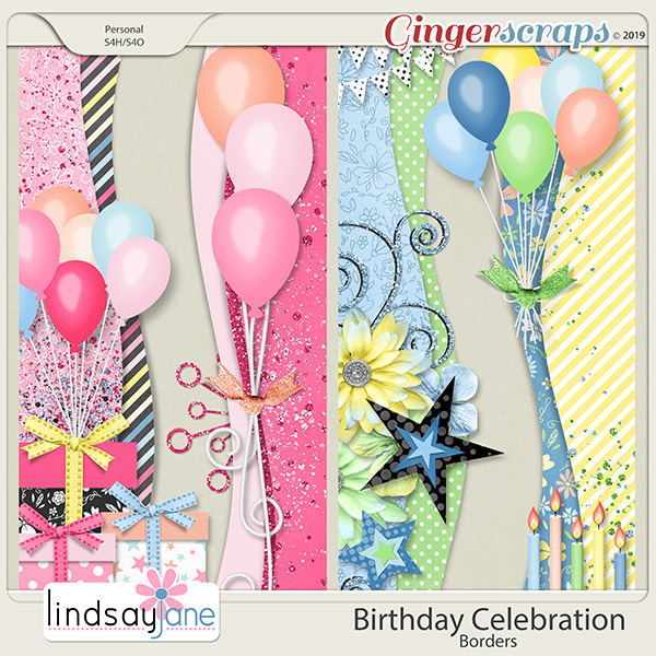 Birthday Celebration Borders by Lindsay Jane