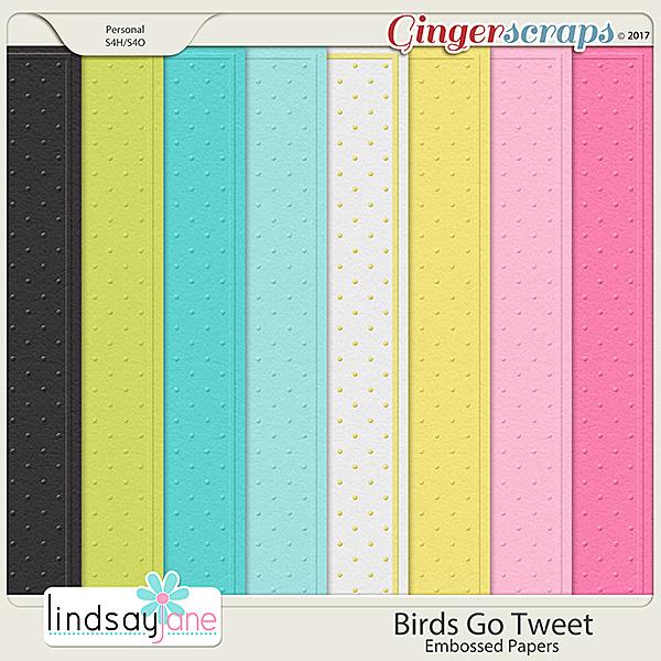 Birds Go Tweet Embossed Papers by Lindsay Jane