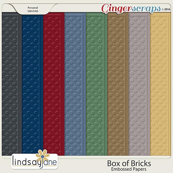 Box of Bricks Embossed Papers by Lindsay Jane