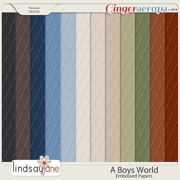 A Boys World Embossed Papers by Lindsay Jane