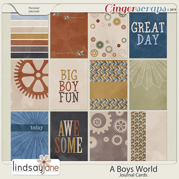 A Boys World Journal Cards by Lindsay Jane
