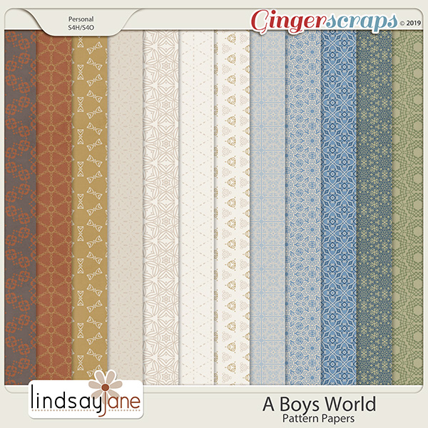 A Boys World Pattern Papers by Lindsay Jane