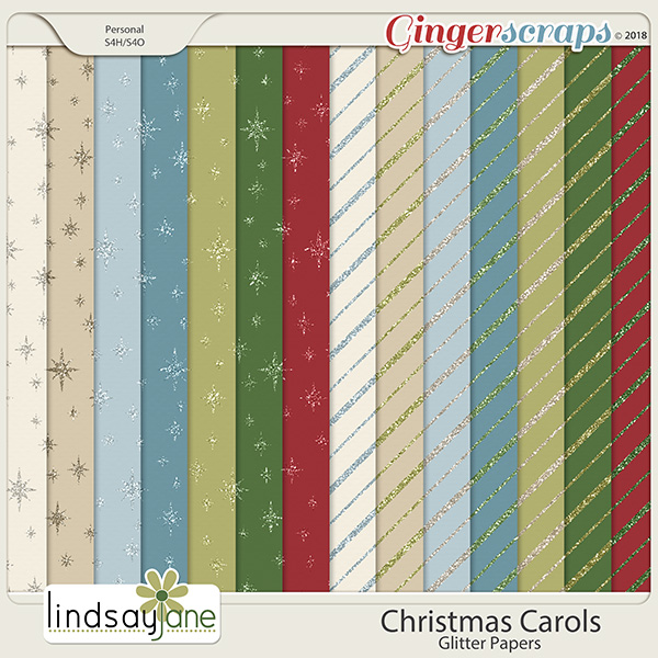 Christmas Carols Glitter Papers by Lindsay Jane