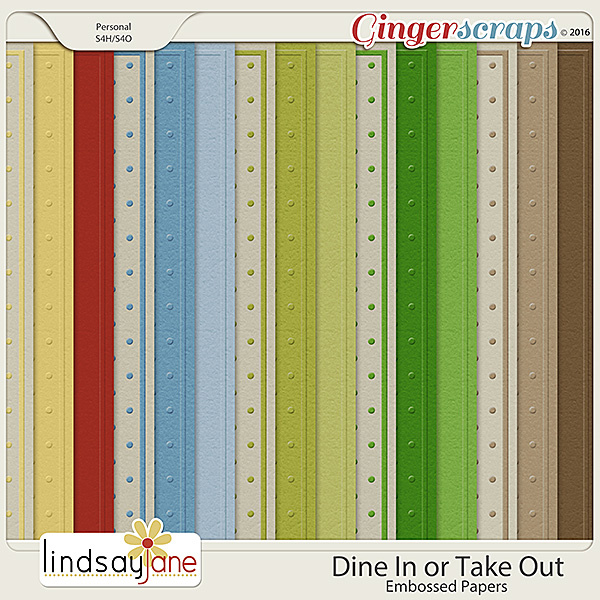 Dine In or Take Out Embossed Papers by Lindsay Jane