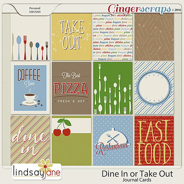 Dine In or Take Out Journal Cards by Lindsay Jane