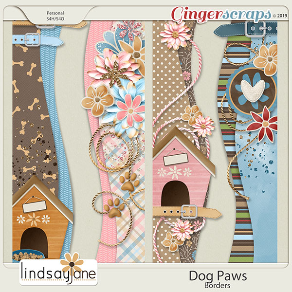 Dog Paws Borders by Lindsay Jane