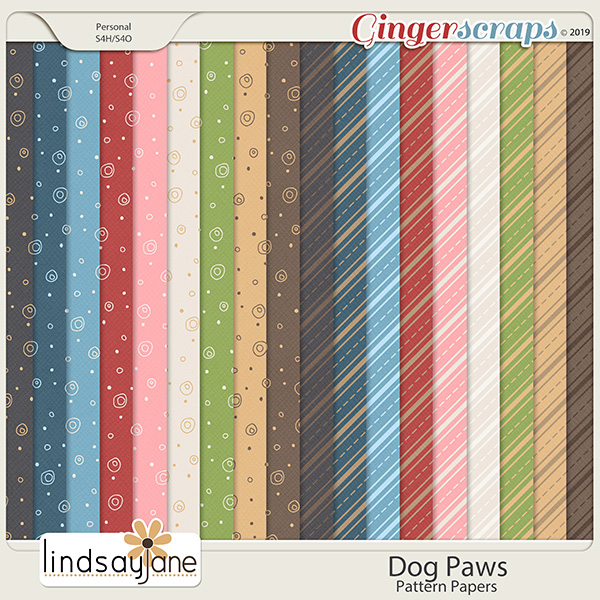 Dog Paws Pattern Papers by Lindsay Jane