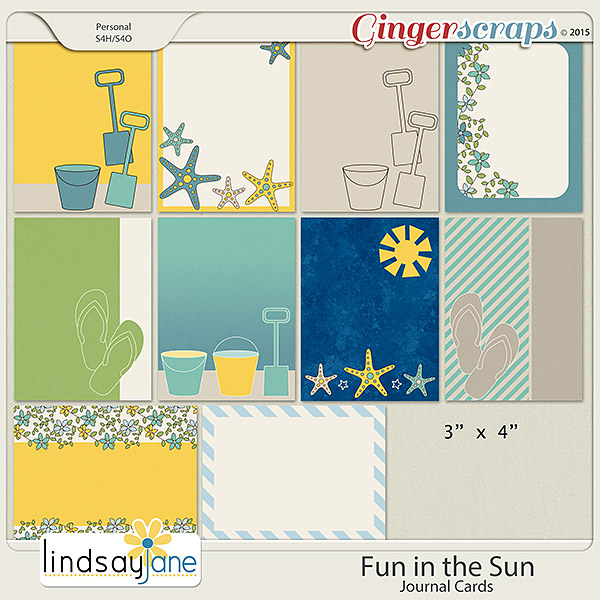 Fun In The Sun Journal Cards by Lindsay Jane