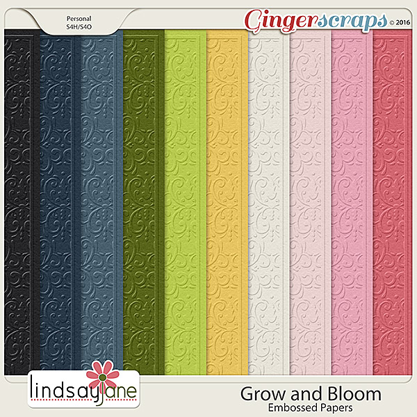 Grow and Bloom Embossed Papers by Lindsay Jane