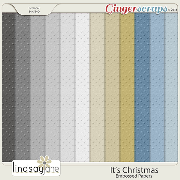 Its Christmas Embossed Papers by Lindsay Jane