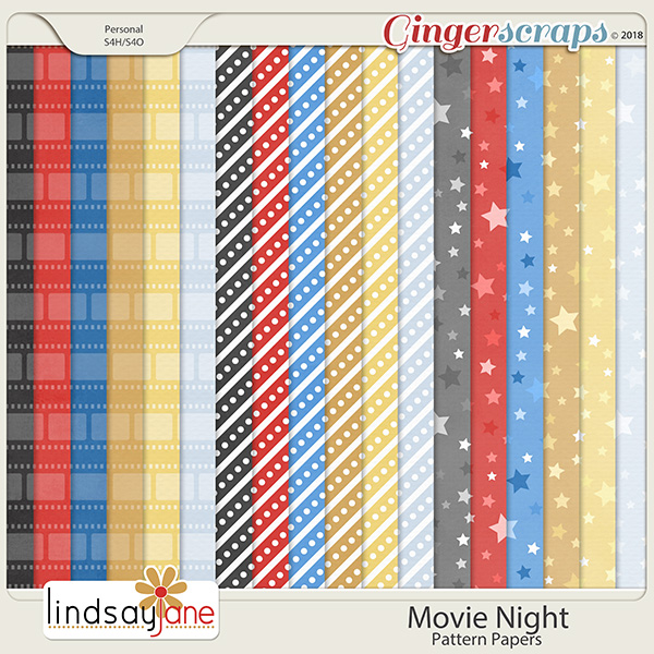 Movie Night Pattern Papers by Lindsay Jane