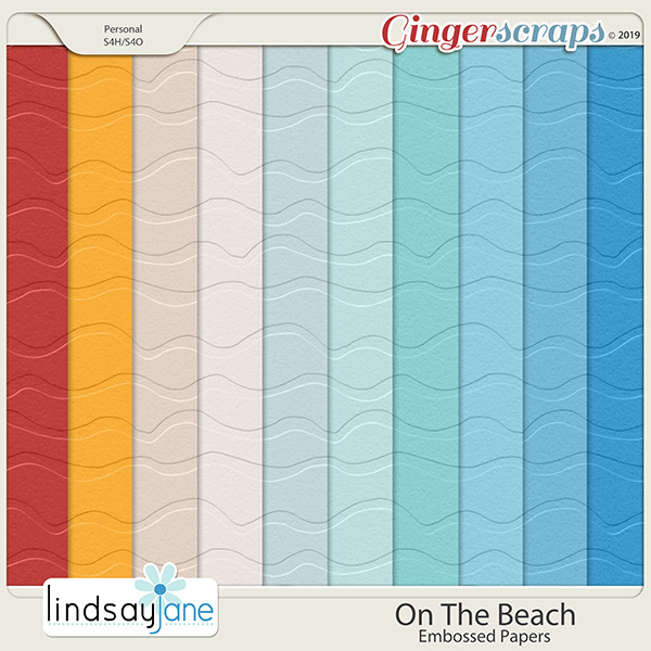 On The Beach Embossed Papers by Lindsay Jane