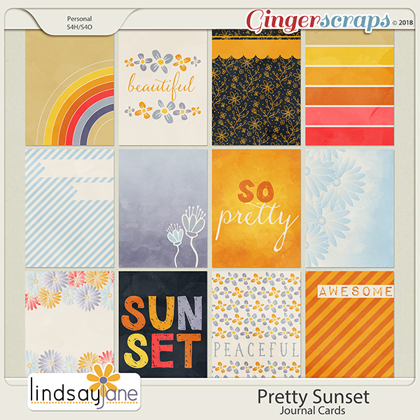 Pretty Sunset Journal Cards by Lindsay Jane