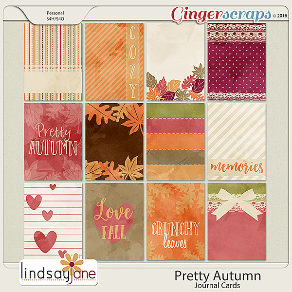 Pretty Autumn Journal Cards by Lindsay Jane