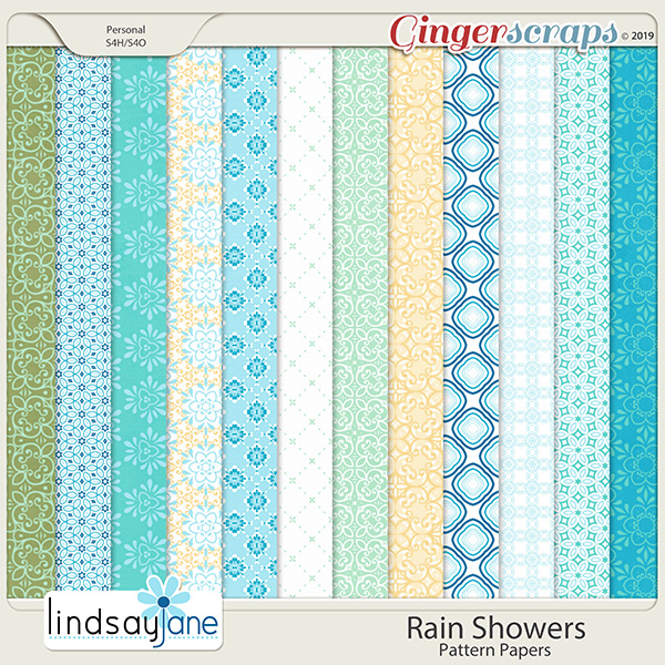 Rain Showers Pattern Papers by Lindsay Jane
