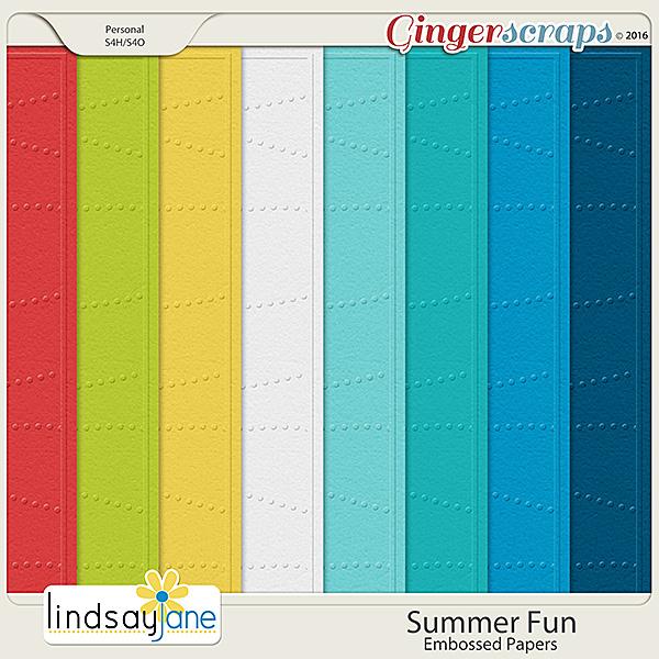 Summer Fun Embossed Papers by Lindsay Jane