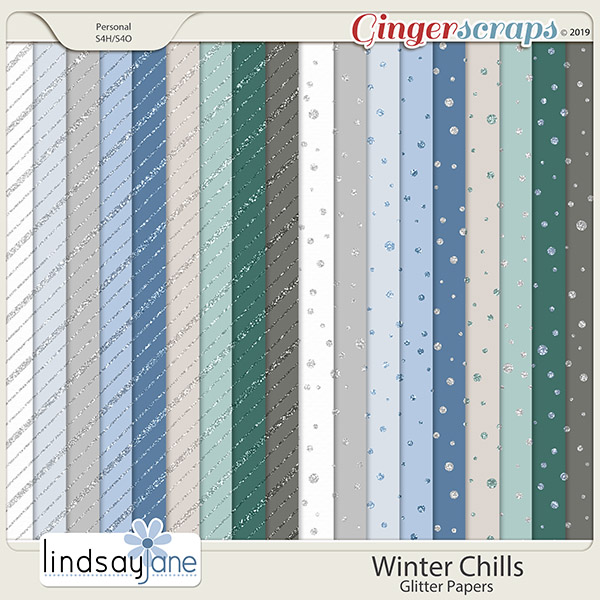 Winter Chills Glitter Papers by Lindsay Jane