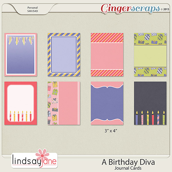 A Birthday Diva Journal Cards by Lindsay Jane