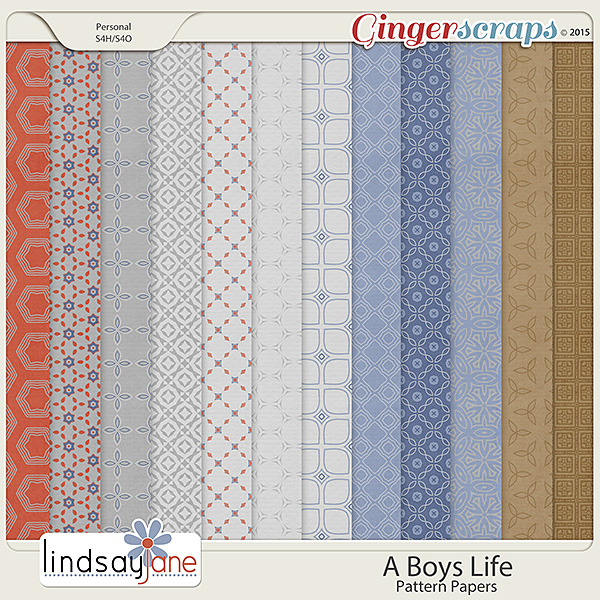 A Boys Life Pattern Papers by Lindsay Jane