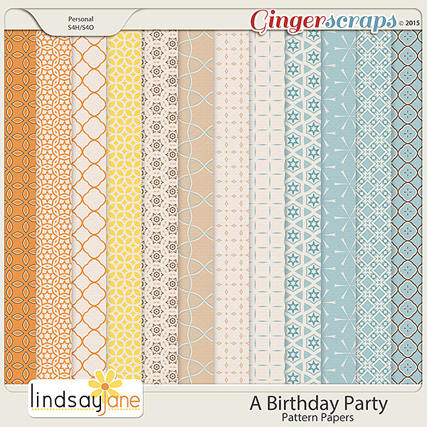 A Birthday Party Pattern Papers by Lindsay Jane