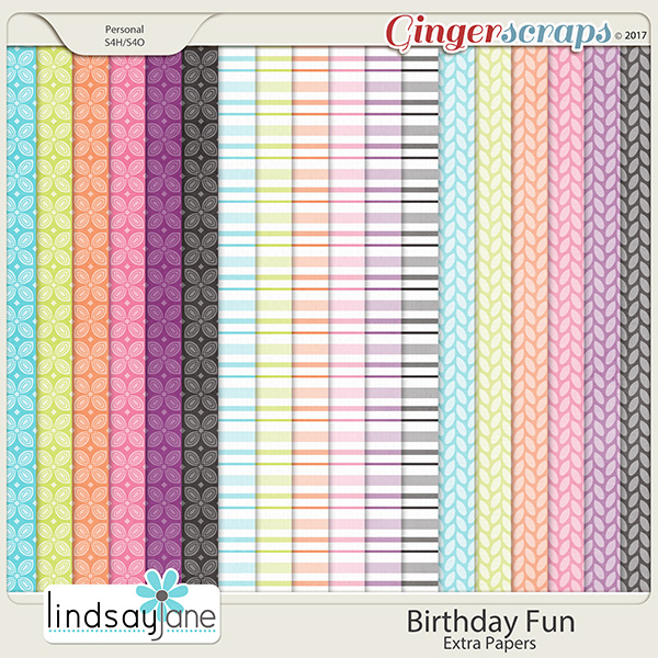 Birthday Fun Extra Papers by Lindsay Jane