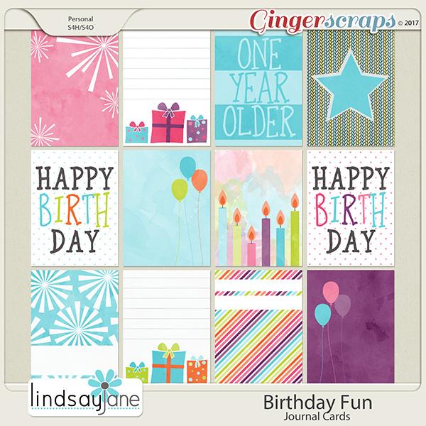 Birthday Fun Journal Cards by Lindsay Jane
