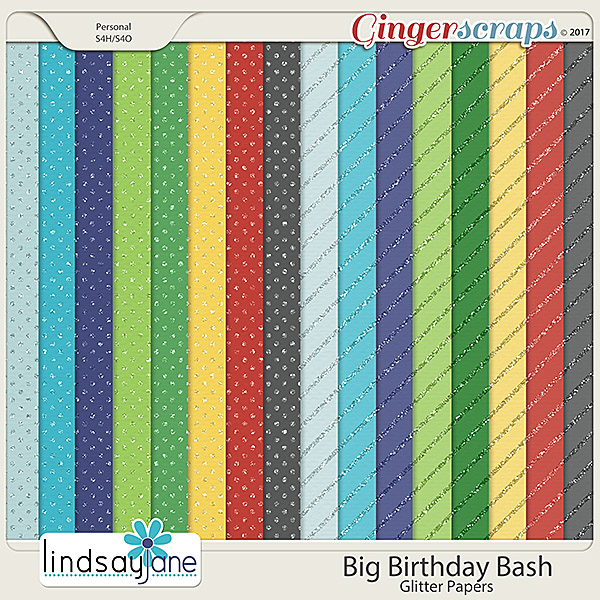 Big Birthday Bash Glitter Papers by Lindsay Jane