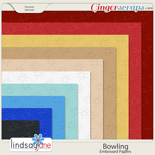 Bowling Embossed Papers by Lindsay Jane