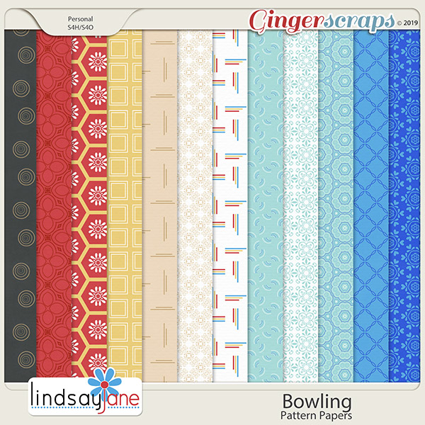Bowling Pattern Papers by Lindsay Jane