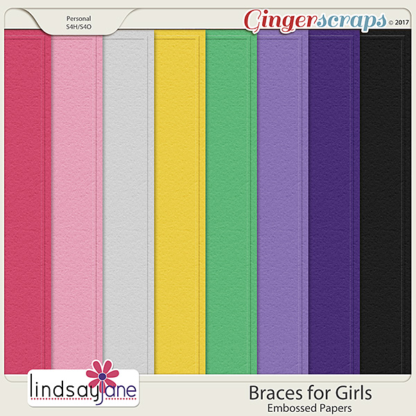 Braces for Girls Embossed Papers by Lindsay Jane