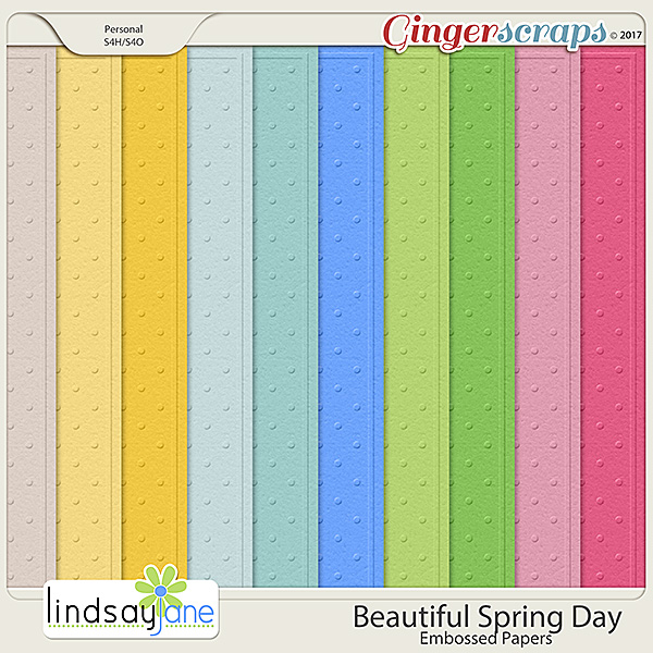 Beautiful Spring Day Embossed Papers by Lindsay Jane