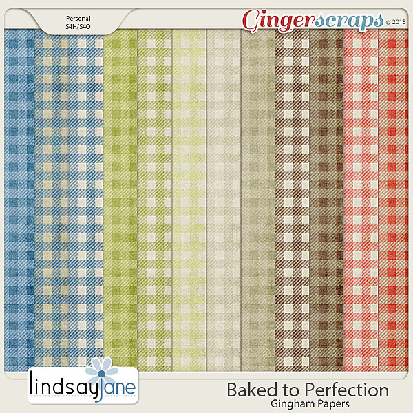 Baked to Perfection Gingham Papers by Lindsay Jane