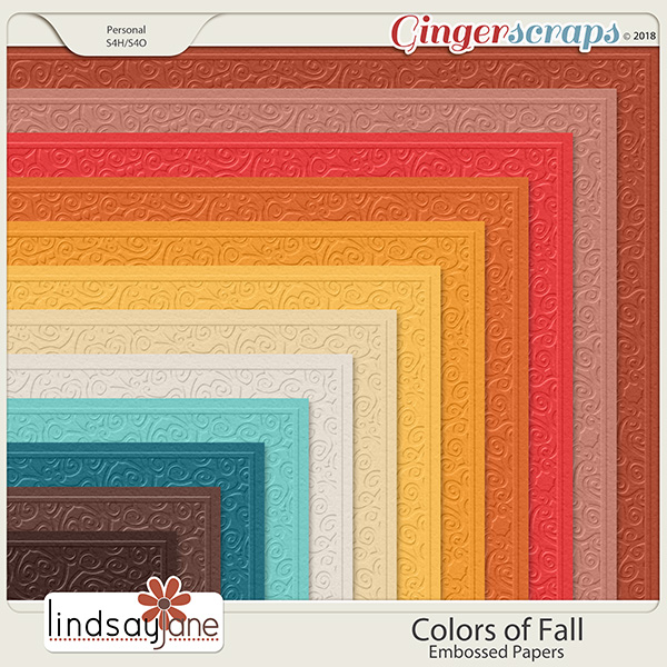 Colors of Fall Embossed Papers by Lindsay Jane