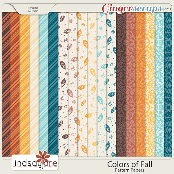 Colors of Fall Pattern Papers by Lindsay Jane