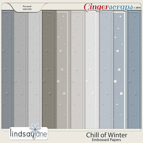 Chill of Winter Embossed Papers by Lindsay Jane