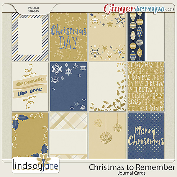 Christmas To Remember Journal Cards by Lindsay Jane