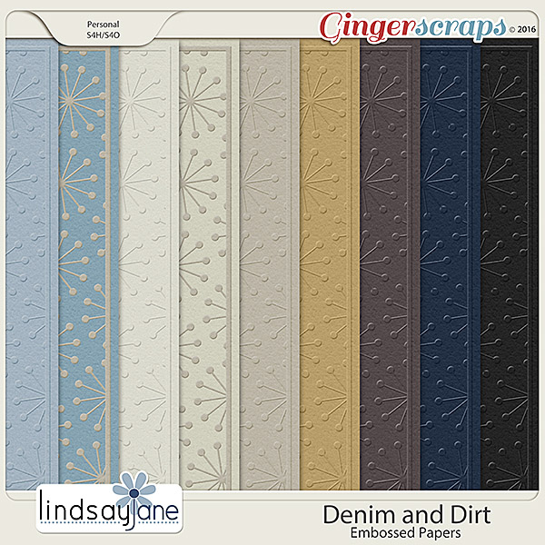 Denim and Dirt Embossed Papers by Lindsay Jane