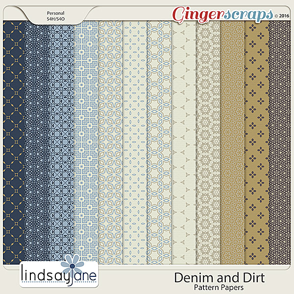 Denim and Dirt Pattern Papers by Lindsay Jane