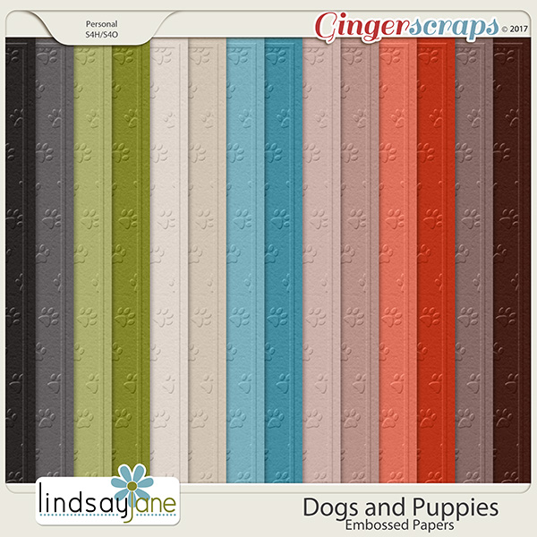 Dogs and Puppies Embossed Papers by Lindsay Jane