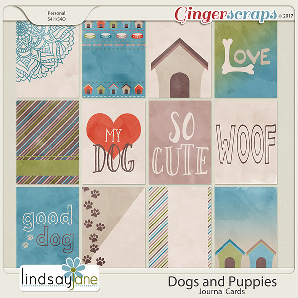 Dogs and Puppies Journal Cards by Lindsay Jane