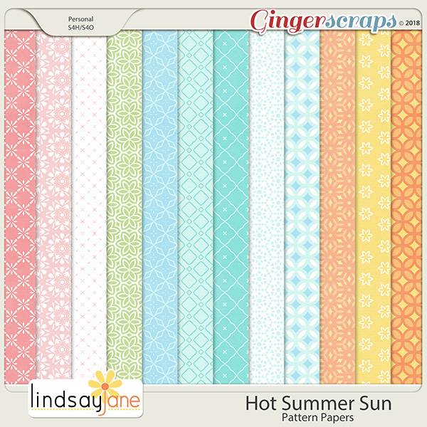 Hot Summer Sun Pattern Papers by Lindsay Jane