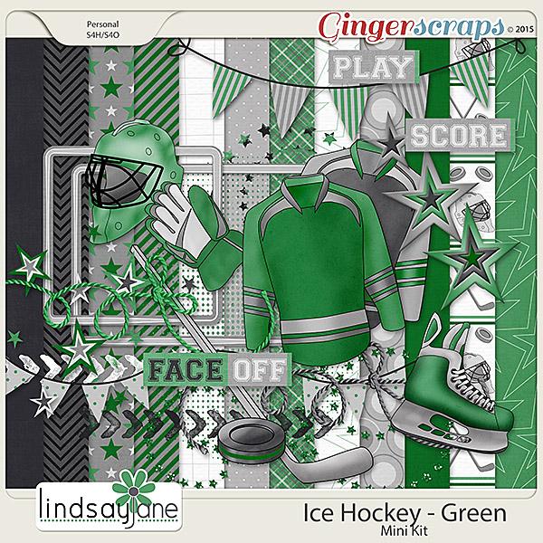 Ice Hockey Green by Lindsay Jane