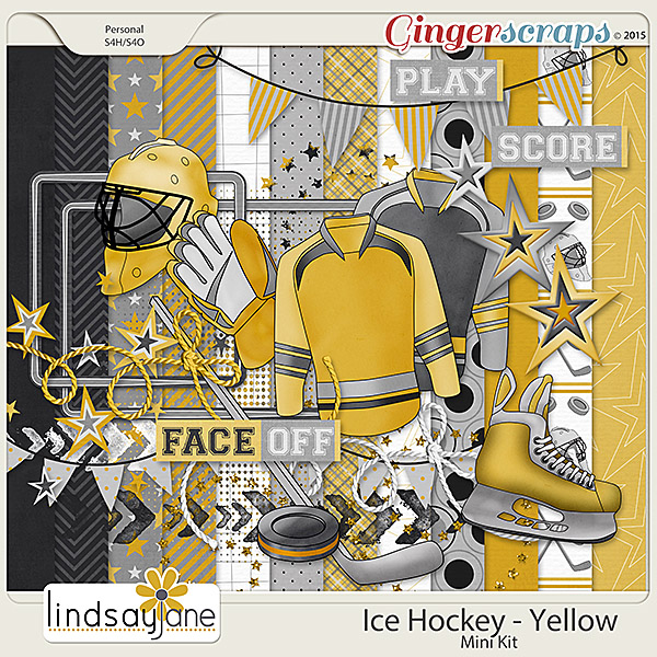 Ice Hockey Yellow  by Lindsay Jane