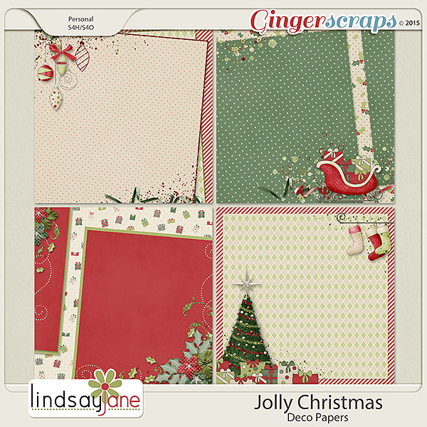 Jolly Christmas Deco Papers by Lindsay Jane