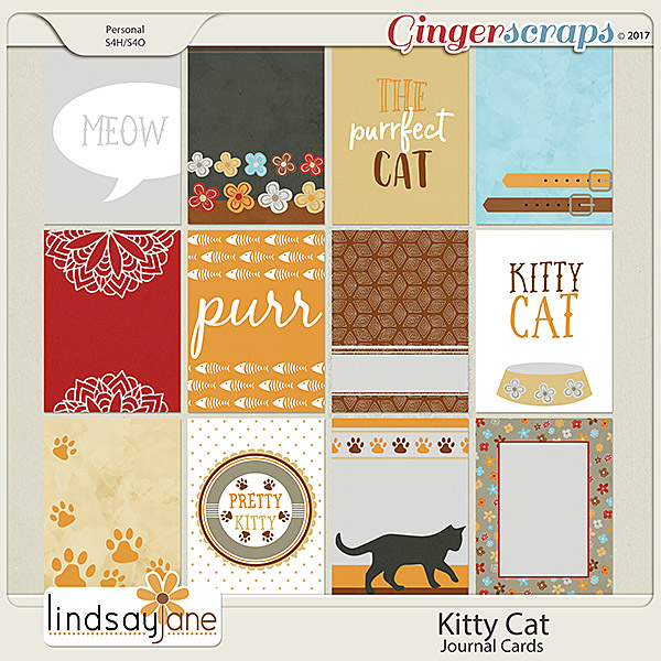 Kitty Cat Journal Cards by Lindsay Jane