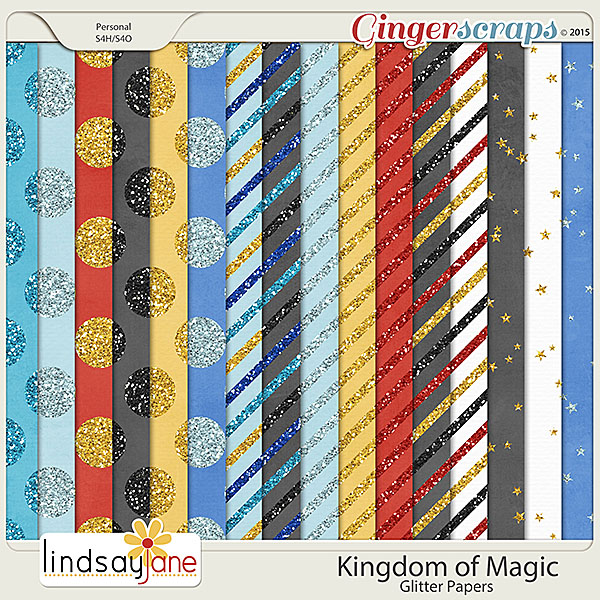 Kingdom of Magic Glitter Papers by Lindsay Jane