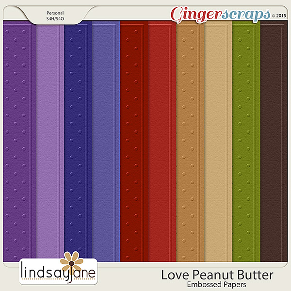 Love Peanut Butter Embossed Papers by Lindsay Jane