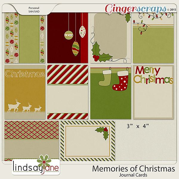 Memories of Christmas Journal Cards by Lindsay Jane