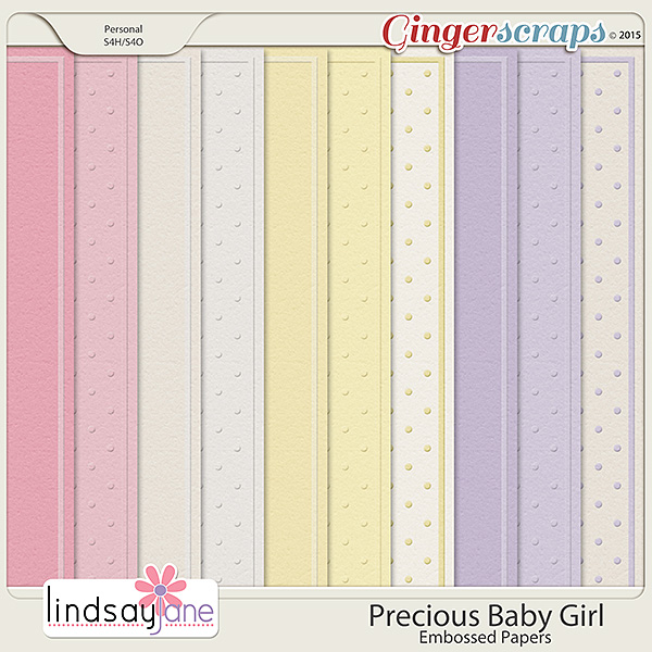 Precious Baby Girl Embossed Papers by Lindsay Jane